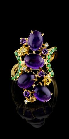 Master Exclusive Jewellery, ring from Kaleidoscope collection, amethyst, yellow sapphire, tsavorit, diamond