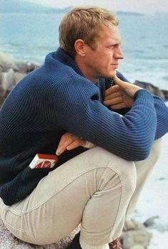 The Steve McQueen Blue Shawl Collar Cardigan - Iconic Alternatives Actor Steve Mcqueen, Steve Mcqueen Style, Steeve Mcqueen, Clarks, Divas, Shawl Collar Cardigan, Gentleman Style, Stylish Men, Classic Hollywood
