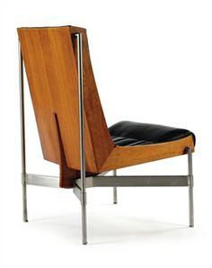 Paul Tuttle; Walnut, Steel and Leather Low Chair for Stanley Reifel, 1960s.