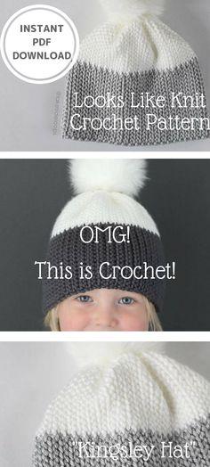 Crochet Pattern - Kingsley 'Knit Look' Crochet Hat by Lakeside Loops (includes Baby, Kids, & Adult sizes) #crochethatpattern #crochethat #lookslikeknitcrochetpatterns #crochetpatterns #crochetpatternhat #affiliate