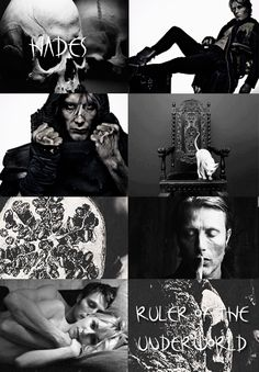 GREEK MYTHOLOGYMEME:1/?  ∟Mads Mikkelsen asH A D E S The Greek God of the Underworld, the realm of the         dead. He was the son of Cronos and Rhea, the brother of Zeus, Poseidon, Hera, Demeter, and Hestia. He forcibly married Persephone, Demeter's daughter, and rules the underworld with her.