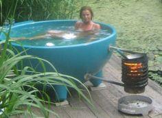 A Dutch-Tub.  Wood heated hot tub.