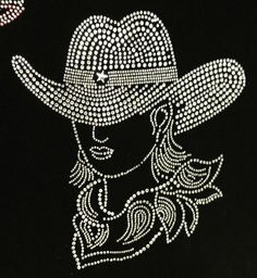 Cow Girl Crystal Iron On Transfers Garment Accessory Created with high quality rhinestones. Dot Art Painting, Mandala Painting, Mandala Art, Rhinestone Art, Rhinestone Transfers, Beaded Embroidery, Embroidery Designs, Hot Fix, Motifs Perler