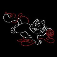 Womans T Shirt Kitten with Yarn Rhinestone 7 X 5 Inches Graphic RWL0199