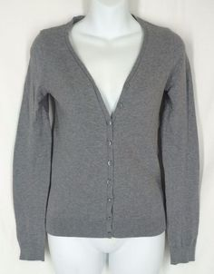 DIVIDED by H&M Cardigan 4 Gray V-Neck Cotton Nylon Solid #DividedbyHM #Cardigan