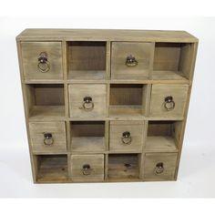 Multi Drawer Cabinet Storage Unit Shelves Drawers Wooden Ring Handles Organizer