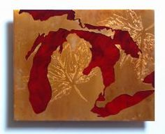 Copper & Red Great Lakes Map
