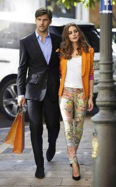 Gorgeous couple look!  Olivia Palermo & Johannes Huebl    #orange #oliviapalermo #hollywoodfashion #hollywood #johannes #fashion #style
