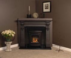 dark corner fireplace