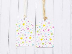 Rainbow Stars Gift Tags Childrens Birthday by ColourscapeStudios