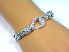 Affinity Diamond Pave Twisted Rope Hinged Bangle Bracelet Sterling Small QVC #AffinityDiamond #Bangle #QVC #Jewelry #Bracelet #MothersDay #Shopping #eBay