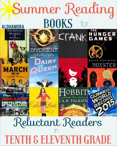 Summer Reading Book List for Reluctant Readers in 10th and 11th Grade.  This book list is for all of the kids that don't like to read.  This book list has 12 great books from a variety of genres that everyone can find one to enjoy.  Many of them are a series.  Alohamora Open a Book http://www.alohamoraopenabook.blogspot.com/ Romance, Dystopian, Action, Adventure, Graphic Novels, Historical, Fairytales, Realistic Fiction, Divergent, Hunger Games, Nicholas Sparks, Crank in Free Verse Poetry…