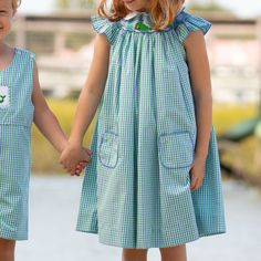 The Girls Nantucket Whale Smocked Bishop in blue and green gingham. IT's is a classic style for girls featuring custom whale smocking and a sweet collar with blue picot trim. Shrimp And Grits Kids, Shrimp N Grits, Girls Dresses, Summer Dresses, Whale Watching, Nantucket, Gingham, Classic Style, Casual