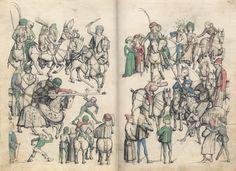 Master of the Housebook. Jousting Tournament. c. 1475/1485. Schloß Wolfegg / Sammlung Fürst von Waldberg zu Wolfegg und Waldsee. Wolfegg, Germany. Bildindex der Kunst und Architektur.