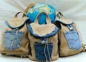 Hemp and denim back packs, a big hit!