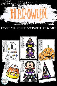 Using games are always a fun way to reinforce skills, introduce skills and even assess skills that are taught. These Phonemic Awareness CVC short vowel roll and cover game is a great way to teach, reteach or reinforce short vowel sounds. CVC Halloween short vowel activities is a fun game that can be differentiated. It can be played with partners or in a small group. This phonics game has 10 boards and use pictures to support phonemic awareness. Have some fun uses games to support phonics. Short Vowel Games, Short Vowel Activities, Short Vowels, Back To School Activities, Alphabet Activities, Teaching Activities, Halloween Activities, Autumn Activities, Halloween Fun