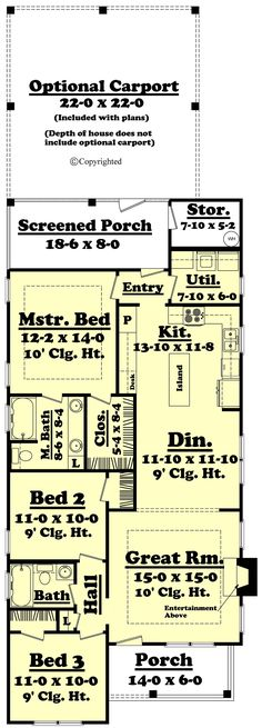 Small Cottage Style House Plan - 3 Beds 2 Baths 1300 Sq/Ft Plan #430-40 Main Floor Plan - Houseplans.com