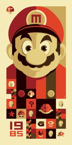 Tom Whalen inspired by Super Mario Bros.    The Old School Video Game Art Show at Gallery1988 in Venice, California had over 90 artists create original works inspired by classic video games.