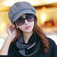 Retro Elegant Winter Female Beret Duckbill Ivy Cap Woman Girl Flat Cabbie Newsboy Warm Hat Black/Red #FOURONE #berets #women_berets #stylish_berets #style #fashion