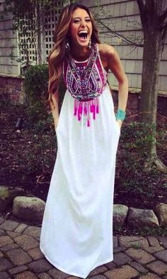 TRIBAL MAXI DRESS in WHITE