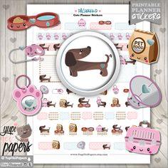 Dog Stickers, Planner Stickers, Kawaii Stickers, Planner Accessories, Dachshund Stickers, Teckel Stickers, Wiener Stickers, Puppy Stickers