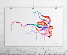 Octopus Art Print  Colorful Watercolor Painting by WatercolorPrint, $30.00