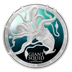 2015 NZ Niue 1 oz Silver 2 Ocean Predators Giant Squid 1 OZ Brilliant Uncirculated *** You can find out more details at the link of the image. Predator Series, Mint Shop, Coin Store, Giant Squid, Canadian Coins, Undersea World, Gold And Silver Coins, Silver Bullion, Tentacle
