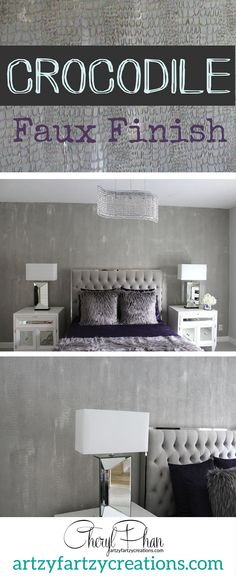 My signature Crocodile Faux Finish in modern gray! Looks amazing on focal walls! Decorative Painting by ArtzyFartzyCreations.com