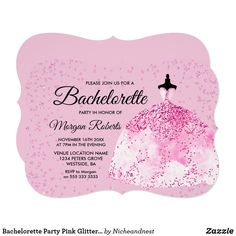 Shop Bachelorette Party Pink Glitter Dress Invitation created by Nicheandnest. Pink Bachelorette Party, Bachelorette Party Invitations, Bridal Shower Invitations, Glitter Dress, Pink Glitter, White Envelopes, Invitation Design, Rsvp, Cards