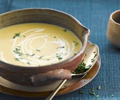 Fancy a good soup for the winter? We suggest this recipe for endive and sweet potato soup. Something to warm up for a moment. Sweet Potato Soup, Sweet Potato Recipes, Soup Recipes, Vegetarian Recipes, Snack Recipes, Diabetic Recipes, Canned Blueberries, Vegan Scones, Gourmet