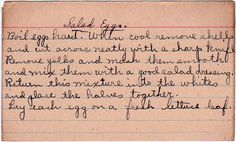 Sort of a deviled egg made using salad dressing. From the box of A.D. from Lutz, Florida, by way of Pennsylvania in the 1940s, and originating in Ohio in the 1920s. Salad Eggs Boil eggs hard. When ...