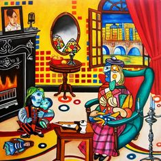 Mother and Child Interior Painting Picasso Inspired by k Madison Moore, painting by artist k. Madison Moore