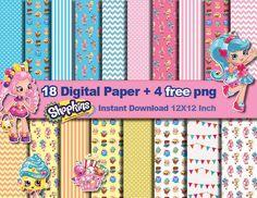18 x Shopkins paper  4 FREE PNG  Digital paper patterns by OrShaJo
