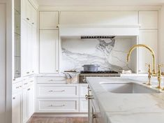 Easton Classic Two Hole Bridge Gooseneck Kitchen Faucet, Metal Lever Handles and Spray from the Easton collection is a leading example of luxury kitchen faucet. Discover the very best in fittings from Waterworks today. Black Kitchen Faucets, Kitchen Hardware, Kitchen Handles, White Kitchen Cabinets, La Cornue, New Kitchen, Kitchen Interior, Kitchen Ideas, Kitchen Reno