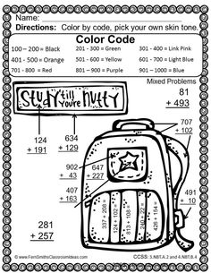 Color By Numbers Addition of Multi-Digit Numbers Within 1000 Color By Code