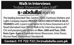 Sales Executive and Sales Trainee Required in a Showroom DHA II Islamabad