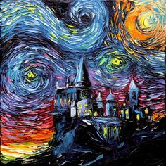Starry Night de Van Gogh version Hogwarts