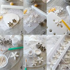 Simple gumpaste flowers with pearls.
