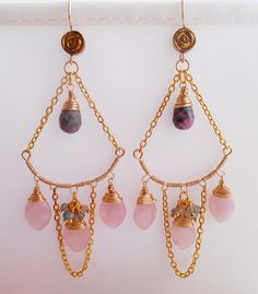 Dianne earrings, exquisite pink gemstone chandelier earrings, made with rose quartz marquise shape gemstones, rhodonite hand cut faceted briolettes, labradorite faceted rondelles, 14 K gold filled wire and 14 K gold filled or 14 K gold vermeil findings.