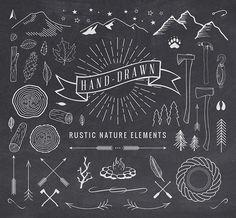 #vector Hand-Drawn Rustic #design elements for website, logo, wedding invitation, etc. Free download.