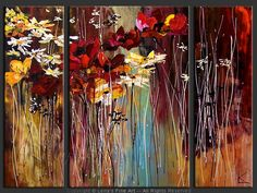 """Late Autumn Flowers"" - Original Flower Paintings by Lena Karpinsky, http://www.artbylena.com/original-painting/20782/late-autumn-flowers.html"