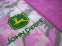 John Deere Pink Camo Fleece Baby Blanket Great by NorthwoodsStitch, $29.95