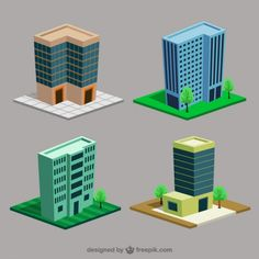 Cartoon Buildings Free Vector