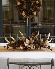 Antler and Greenery Centerpiece Rustic Tablesetting / Rustic Centerpiece / Table Decor / Fall Autumn Winter Decor / Tablescape / Christmas Decor Rustic Christmas, Christmas Wreaths, Christmas Crafts, Christmas Decorations, Holiday Decor, Family Holiday, Cozy Christmas, Western Decor, Rustic Decor