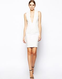 Solace London Santana Plunge Neck Body-Conscious Dress with Cross Back