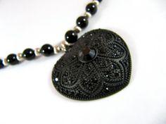 Black Heart Pendant Necklace by SheepsBeads on Etsy, $22.00