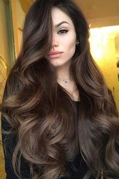 Long Hair Women's Styles : If you are about to get yourself black hair, there are some things that you shou. Trendy Long Hair Women's Styles Wenn Sie kurz davor sind, sich schwarzes Haar zuzulegen, Hair Color For Women, Hair Color For Black Hair, Brown Hair Colors, Wavy Black Hair, Long Wavy Hair, Thin Hair, Black Curls, Brown Curls, Long Brown Hair