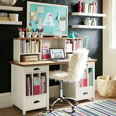 """For the """"homework station"""" bulletin board for reminders and shelves on the side for extra storage!!!"""