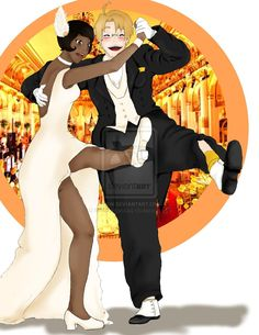 """Hetalia Disney: Alfred + Tiana by twilitprincesses.deviantart.com on @deviantART - Alfred dancing with Tiana from Disney's """"The Princess and the Frog"""". This is so cute!"""