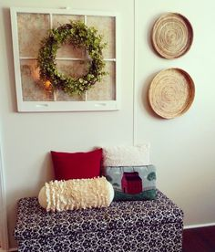 My new Farmhouse living room decor. The baskets give it a Charleston feel! ❤
